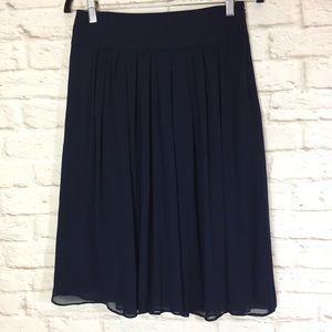 WHBM sheer Navy hidden side zip skirt